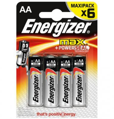 ENERGIZER Батарейка алкалиновая MАХ LR6/E91 тип АА 6шт батарейка energizer maximum lr6 e91 fsb2 aa