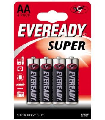ENERGIZER Батарейка солевая Eveready Super R6 тип АА 4шт аккумулятор energizer power plus тип аа 2000 mah 4шт