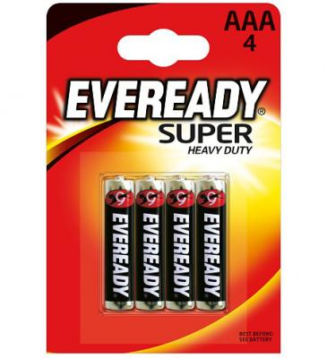 ENERGIZER Батарейка солевая Eveready Super R03 тип ААА 4шт батарейка d energizer eveready super r20 ni mh 2 штуки