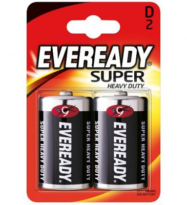 ENERGIZER Батарейка солевая Eveready Super R20 тип D 2шт батарейки energizer carbon zinc eveready d r20 2шт в блистере 637087