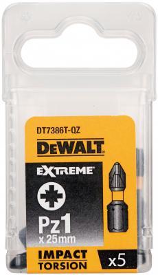 Бита DEWALT DT7386T-QZ ударная IMPACT Torsion Pz1 25мм (5 шт) бита dewalt torsion t25 85мм ударная 2шт