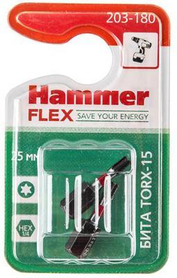 Бита Hammer Flex 203-180 TORX-15 25мм, 2шт. бита практика torx 20х50мм 2шт
