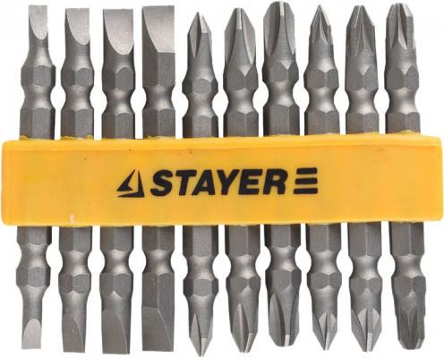 Набор бит STAYER MASTER 2605-H10_z01 двухсторонние в пластиковом держателе Cr-V 10шт пайетки двухсторонние