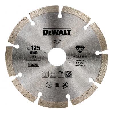 Диск алм. DeWALT DT3711-QZ сегментный универсальный, 125x22.2x1.8мм диск алм dewalt dt3714 qz dewalt® для плиткореза dwc410 110x20x1 6мм