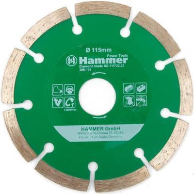 Диск алм. Hammer Flex 206-101 DB SG 115x22мм сегментный круг алмазный hammer 206 155 db tb proff