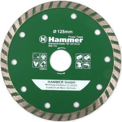 Диск алм. Hammer Flex 206-112 DB TB 125x22мм турбо диск алм hammer flex 206 111 db tb 115x22мм турбо