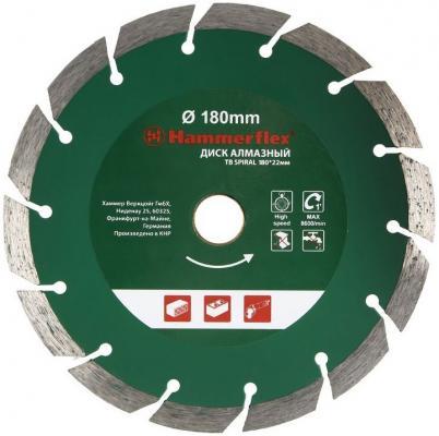 Диск алм. Hammer Flex 206-129 DB TB SPIRAL 180x22мм турбо СПИРАЛЬ диск алм hammer flex 206 112 db tb 125x22мм турбо