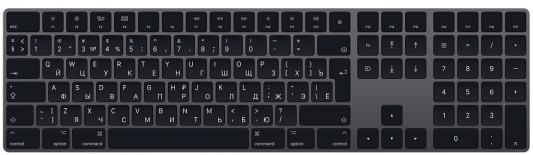 Клавиатура беспроводная Apple Magic Keyboard Bluetooth серый apple mla22ru a magic keyboard white bluetooth