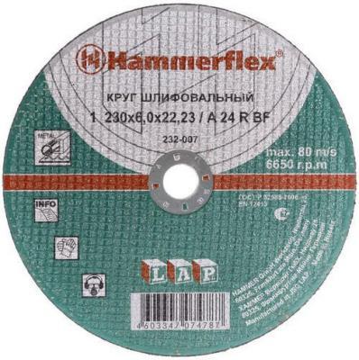 Шлифовальный круг 230 x 6.0 x 22,23 A 24 R BF Круг шлифовальный Hammer Flex 232-007 по металлу