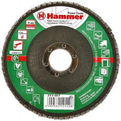 Лепестковый круг 125 Х 22 Р 40 тип 1 КЛТ Hammer Flex 213-007 Круг лепестковый торцевой 125 х 22 р 80 тип 1 клт hammer flex 213 009 круг лепестковый торцевой