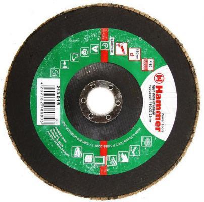 Лепестковый круг 180 Х 22 Р 80 тип 1 КЛТ Hammer Flex 213-015 Круг лепестковый торцевой 125 х 22 р 60 тип 1 клт hammer flex 213 008 круг лепестковый торцевой