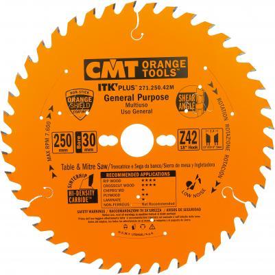 Круг пильный твердосплавный CMT 271.250.42M 250X30X2.4/1.6 18° 10° ATB + 8° SHEAR Z=42 диск пильный твердосплавный cmt 293 028 12m