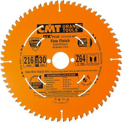 Круг пильный твердосплавный CMT 273.216.64M 216X30X1.8/1.2 -5° 10° ATB + 8° SHEAR Z=64 цена