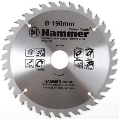 Купить Диск пильный Hammer Flex 205-112 CSB WD 190мм*36*30/20/16мм по дереву