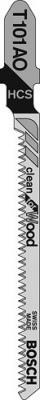 Пилка для лобзика BOSCH T101AO (3) (2.608.630.559) дерево\\ДСП, по кривой, 83мм, шаг 1.4, HCS, 3шт пилка для лобзика bosch t118ehm 2 608 630 665 нерж сталь 83мм шаг 1 4 3шт