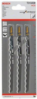 Пилка для лобзика BOSCH T313AW (2.608.635.187) картон/резина, 152мм, HCS, 3шт пилки для лобзика bosch 152мм 3шт t313aw special for soft material 2 608 635 187