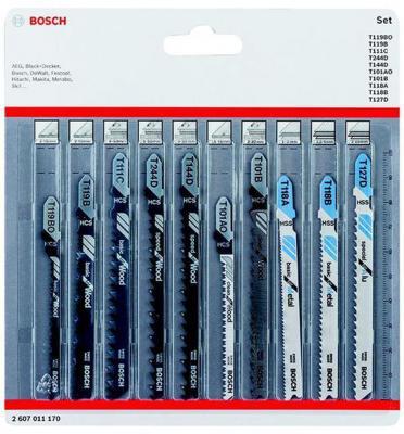 Набор пилок BOSCH 2607011170 лобзиковых 10шт wood&metal набор пилок bosch специальные 10шт 2 607 010 574