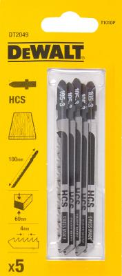 Пилки для лобзика DeWALT DT2049-QZ по дереву HCS T 101 DP, 5шт.