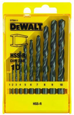 Набор сверл DeWALT DT5911-QZ по металлу HSS-R (10шт.) в пластиковой кассете набор сверл dewalt dt4904 qz 2 шт по металлу