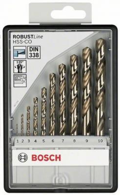 Картинка для Набор сверл BOSCH Robust Line HSS-Co 10 шт. (2.607.019.925)  металл, 1-10мм, 10шт.