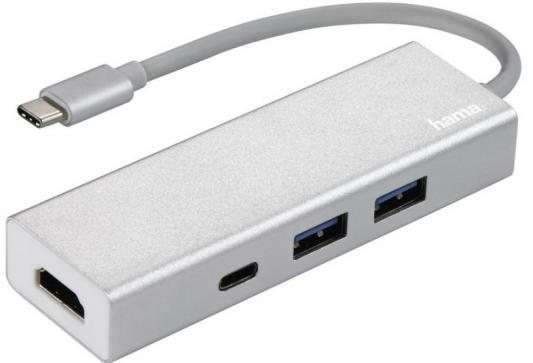Концентратор USB 3.1 HAMA Aluminium H-135756 3 х USB 3.1 белый hama hama h 53861 белый usb