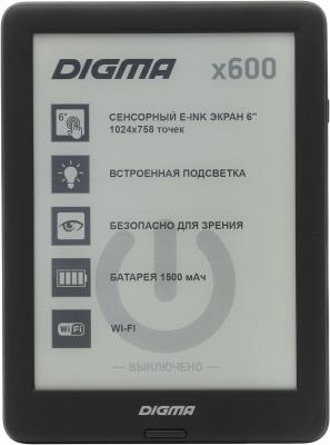 Электронная книга Digma X600 6 E-Ink 8Gb черный 6 lcd display screen for digma r660 without backlight lcd display screen e book ebook reader replacement