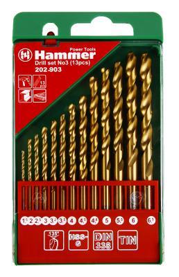 Набор сверл HAMMER Flex 202-903 DR набор No3 1,5-6,5мм металл, 13шт. набор сверл hammer подарок dr set no6 5pcs 5 8мм