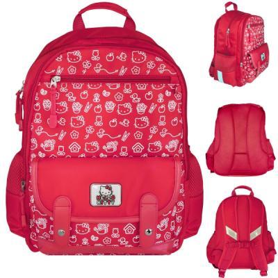 Рюкзак HELLO KITTY, разм.40х30х13 см, красный, уплотненная рельефная спинка, светоотраж. элементы, рюкзак ми ми мишки детский мягк спинка светоотраж полоски безопас разм 30х25х11см красный