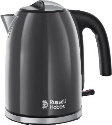 Чайник Russell Hobbs Colours Plus 20414-70 2400 Вт серый чёрный 1.7 л нержавеющая сталь чайник russell hobbs 18944 70 2200 вт 1 7 л нержавеющая сталь серый