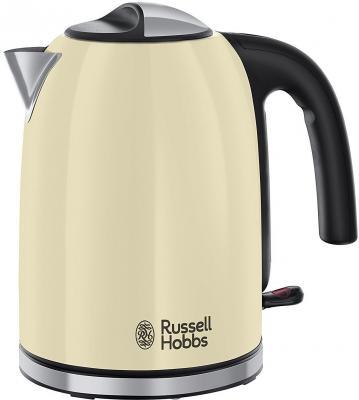 Чайник Russell Hobbs Colours Plus 20415-70 2400 Вт бежевый чёрный серебристый 1.7 л нержавеющая сталь чайник russell hobbs 18944 70 2200 вт 1 7 л нержавеющая сталь серый