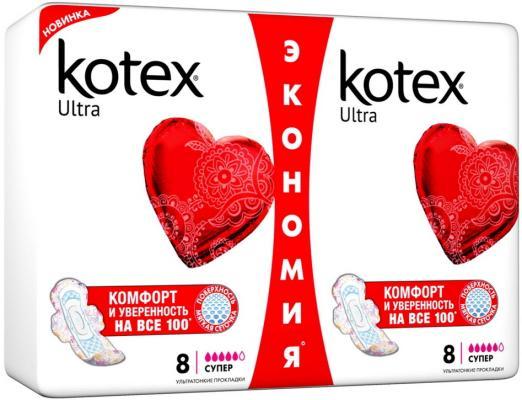 Прокладки впитывающие Kotex Ультра Драй Супер 16 шт 9425933 прокладки ежедневные kotex 9425953 20 шт