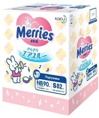 MERRIES Подгузники для детей Набор на рождение (NB до 5кг 90шт, S 4-8кг 82шт)