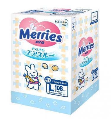 MERRIES Подгузники для детей размер L 9-14 кг 108 шт merries детские влажные салфетки merries flushable 64 шт запасной блок