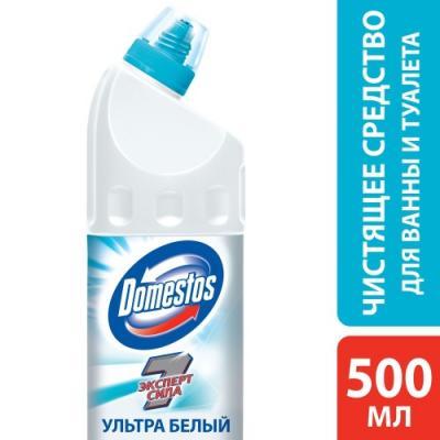 DOMESTOS Средство чистящее для унитаза Ультра Белый 500мл чистящее средство для унитаза bref сила актив с хлор компонентом 50г