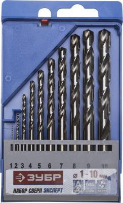 Набор сверл ЗУБР 4-29625-H10 ЭКСПЕРТ по металлу стальP6M5 1-10мм 10шт. набор сверл по металлу зубр 4 29625 h19