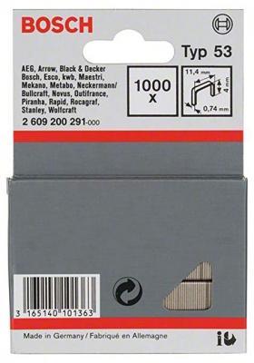Скобы для степлера BOSCH 2609200291 1000шт. 4мм Т53 для HT8/14 HMT 53 степлер ручной bosch ht8 0 603 038 000