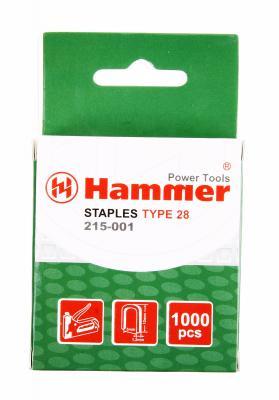 Скобы для степлера Hammer Flex 215-001  12мм, ширина 5мм, сечение 1.2мм, U-образные (тип 28) 1000шт.