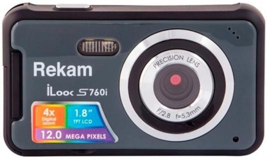 "Цифровая фотокамера Rekam iLook S760i 12 Mpx 1.8"" LCD серый"