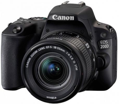 Зеркальная фотокамера Canon EOS 200D EF-S 18-55mm 24Mp черный 2250C002 зеркальная фотокамера canon eos 7d mark ii body wi fi адаптер черный 9128b128