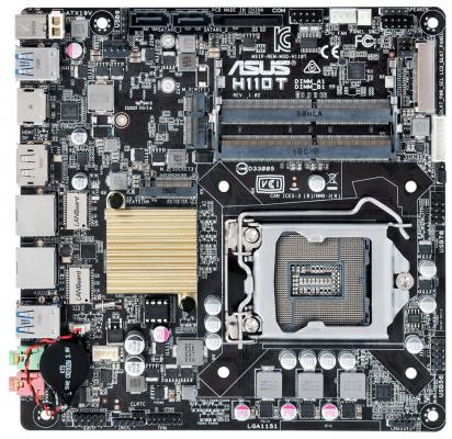 Материнская плата ASUS H110T/CSM Socket 1151 H110 2xDDR4 2 mini-ITX Retail asus h110i plus socket 1151 h110 2xddr4 1xpci e16x 4xsata3 d sub dvi hdmi 4xusb3 0 com d sub dvi hdmi glan mini itx ret