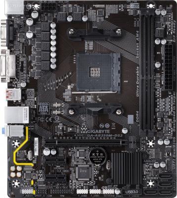 Материнская плата GigaByte GA-AB350M-DS2 Socket AM4 AMD B350 2xDDR4 1xPCI-E 16x 2xPCI-E 1x 4 mATX Retail мат плата для пк asrock ab350m socket am4 amd b350 2xddr4 1xpci e 16x 1xpci e 1x 4xsataiii matx retail