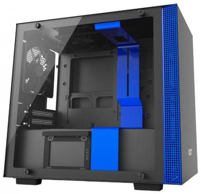 Корпус mini-ITX NZXT H200i Без БП чёрный синий CA-H200W-BL