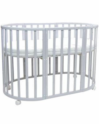Купить Кроватка с маятником 7-в-1 Everflo Allure (gray), серый, береза, Кроватки с маятником