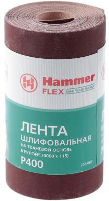 Фото - Лента шлиф. Hammer Flex 216-007 115х5м P400 ткан. основа, рулон лента шлиф hammer flex 216 007 115х5м p400 ткан основа рулон