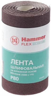 Фото - Лента шлиф. Hammer Flex 216-012 115х5м P80 бум. основа, рулон лента шлиф hammer flex 216 007 115х5м p400 ткан основа рулон