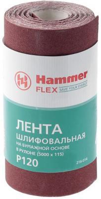 Лента шлиф. Hammer Flex 216-014 115х5м P120 бум. основа, рулон лента шлиф бесконечная bosch 75х533мм p120