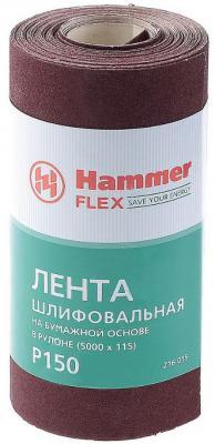Лента шлиф. Hammer Flex 216-015 115х5м P150 бум. основа, рулон лента шлиф бесконечная hammer 75х533мм р120