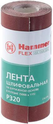Фото - Лента шлиф. Hammer Flex 216-016 115х5м P320 бум. основа, рулон лента шлиф hammer flex 216 007 115х5м p400 ткан основа рулон