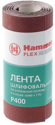 Лента шлиф. Hammer Flex 216-017 115х5м P400 бум. основа, рулон hammer nap 200 16