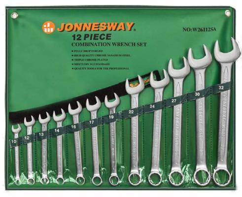 Набор комбинированных ключей JONNESWAY W26112SA (10 - 32 мм) 12 шт. набор комбинированных трещоточных ключей jonnesway w45107s 10 19мм 7 предметов